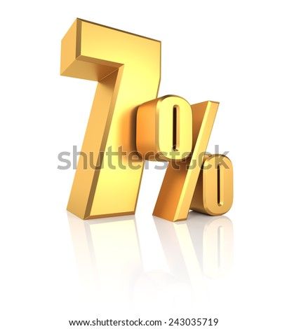 7 percent off. Gold metal letters on reflective floor. White background. Discount 3d render