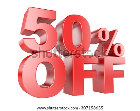 50 percent off icon isolated on white background. - stock photo