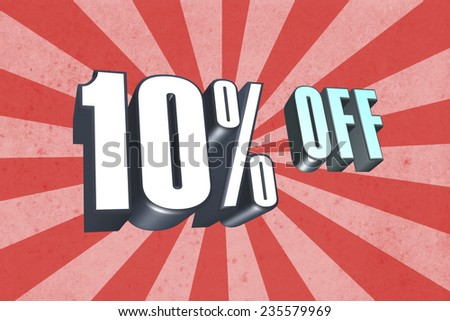 10 Percent Off in 3D text - stock photo
