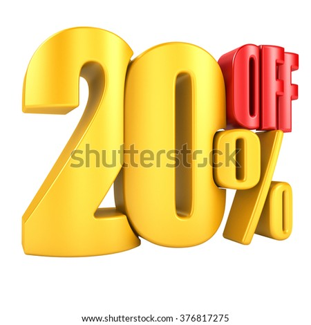 20 percent off in red letters 3d render on a white background. - stock photo
