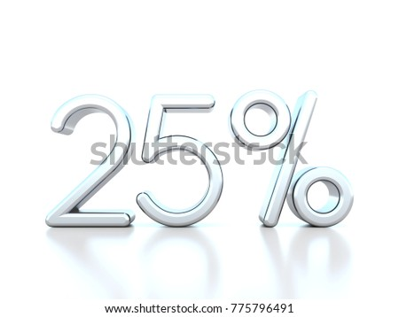 25 percent off metallic symbol on white background 3D render