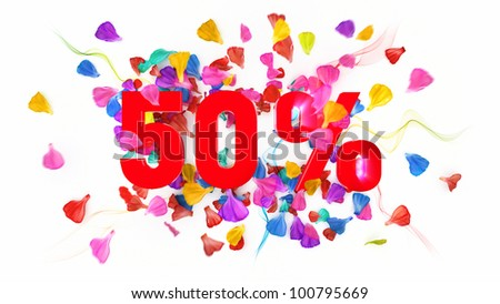 50 percent off on white isolated background full with colored petals - stock photo