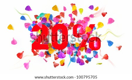20 percent off on white isolated background full with colored petals - stock photo