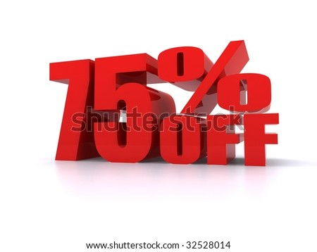 75% Percent off promotional sign - stock photo