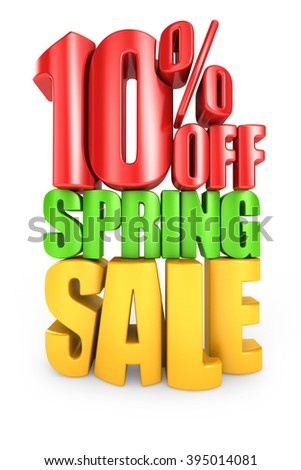 10 percent off spring sale 3d text isolated over white background - stock photo