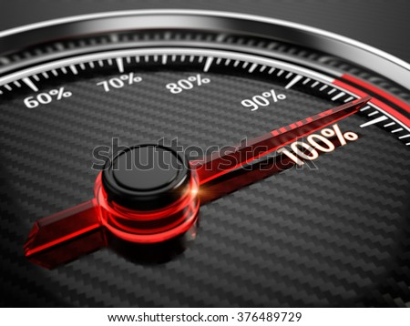 100 percent on car speedometer - stock photo