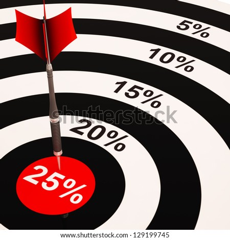 25 Percent On Dartboard Shows Selected Discounts And Price Sales - stock photo