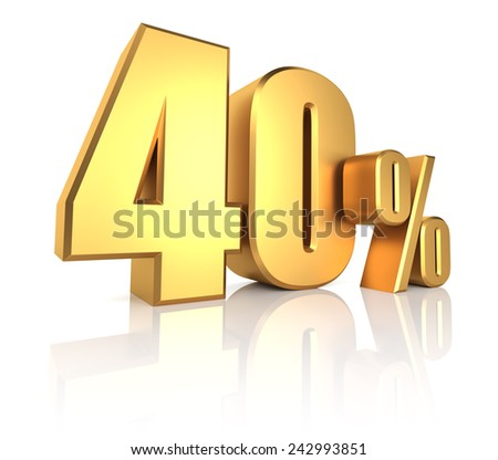 40 percent on white background. 3d render gold metal discount - stock photo