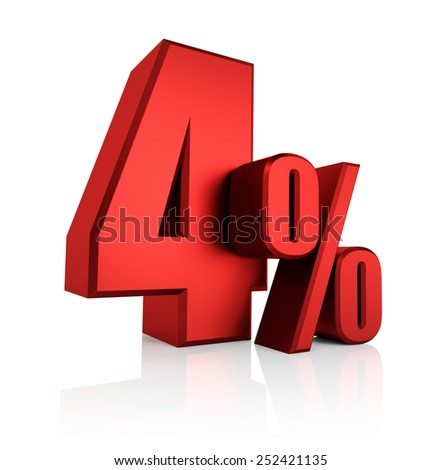 4 percent on white background. 3d render red discount - stock photo