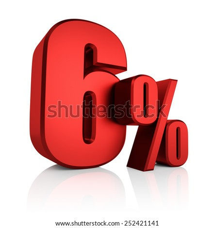 6 percent on white background. 3d render red discount - stock photo