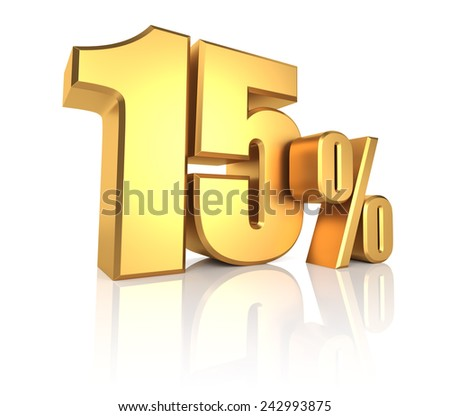 15 percent on white background. 3d rendering golden metal discount  - stock photo