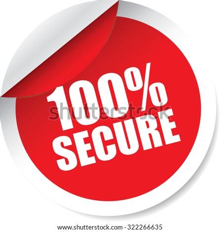 100 Percent Red Black Modern Labels And Stickers. Protected Against Attack. - stock photo