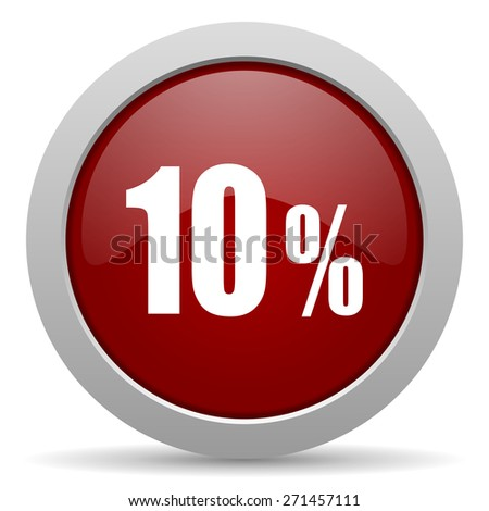 10 percent red glossy web icon  - stock photo