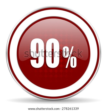 90 percent red glossy web icon - stock photo