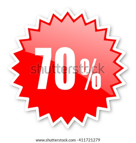 70 percent red tag, sticker, label, star, stamp, banner, advertising, badge, emblem, web icon - stock photo
