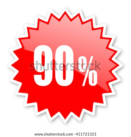 90 percent red tag, sticker, label, star, stamp, banner, advertising, badge, emblem, web icon - stock photo