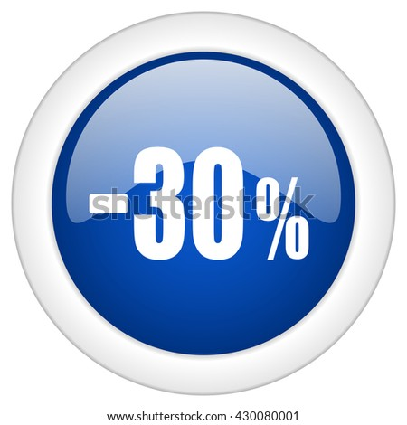 30 percent sale retail icon, circle blue glossy internet button, web and mobile app illustration - stock photo