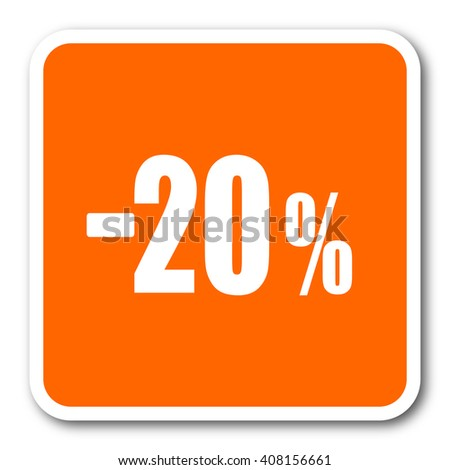 20 percent sale retail orange flat design modern web icon