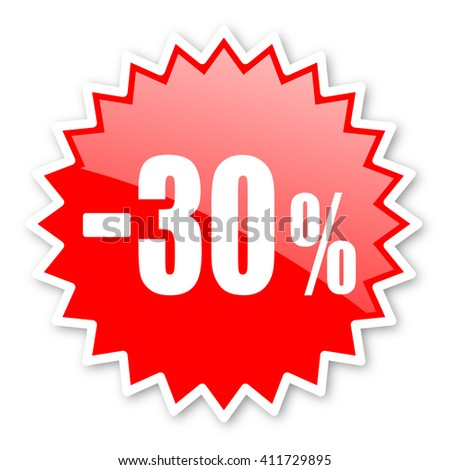 30 percent sale retail red tag, sticker, label, star, stamp, banner, advertising, badge, emblem, web icon - stock photo