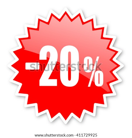 20 percent sale retail red tag, sticker, label, star, stamp, banner, advertising, badge, emblem, web icon - stock photo