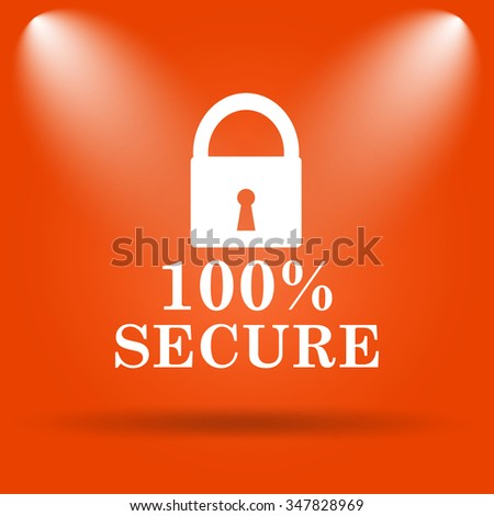 100 percent secure icon. Internet button on orange background.  - stock photo