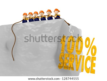 100 percent servie at the construction site with cute 3d characters - stock photo