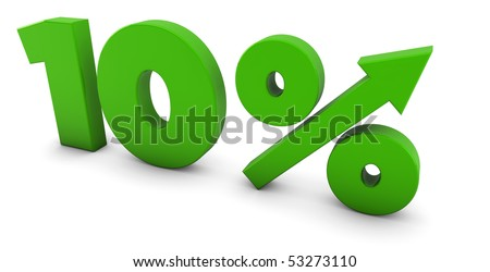10 percent up - stock photo