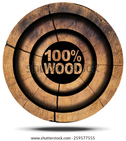 100 Percent Wood - Wooden Icon. Wooden icon with wooden section of tree trunk and wooden text 100% (percent) wood. Isolated on white background - stock photo