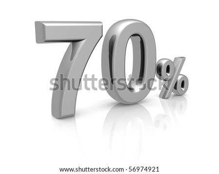70 percents discount symbol with reflection isolated white background - stock photo