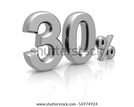 30 percents discount symbol with reflection isolated white background - stock photo