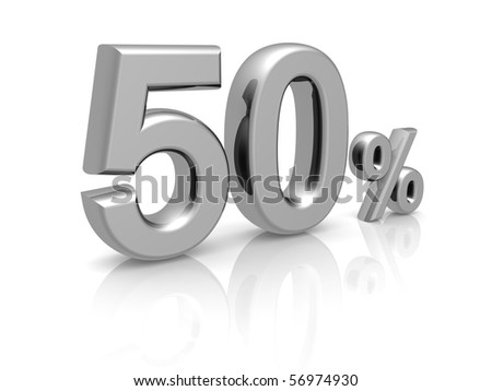 50 percents discount symbol with reflection isolated white background - stock photo