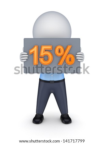 15 percents.Isolated on white.3d rendered. - stock photo