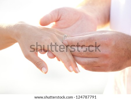 Perfect  marriage hands - elegant and classy -  isolated - stock photo