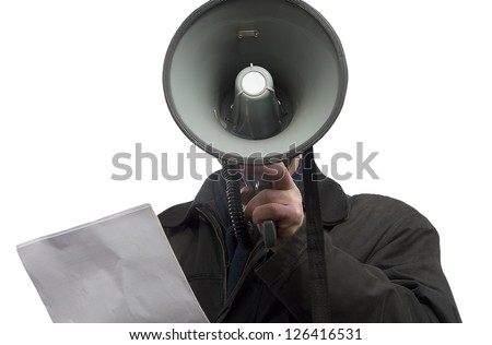 Person communicating by means of a megaphone. - stock photo