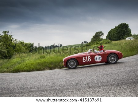 PESARO, ITALY - MAY 15: GILCO FIAT 1100 Barchetta Fontana 1950 old racing car in rally Mille Miglia 2015 the famous italian historical race (1927-1957) on May 2015