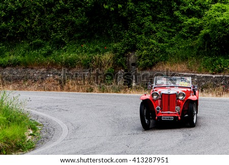 PESARO, ITALY - MAY 15: MG TB 1939  old racing car in rally Mille Miglia 2015 the famous italian historical race (1927-1957) on May 2015