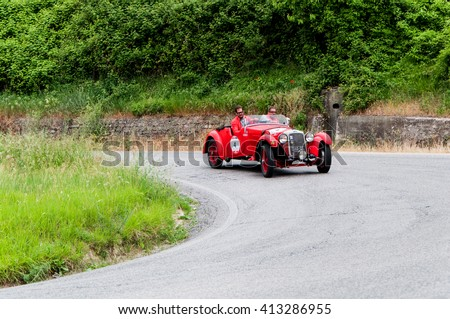 PESARO, ITALY - MAY 15: O.M. 665 SS MM 1929 old racing car in rally Mille Miglia 2015 the famous italian historical race (1927-1957) on May 2015