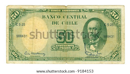 50 peso bill of Chile, yellowish shabby paper, green pattern