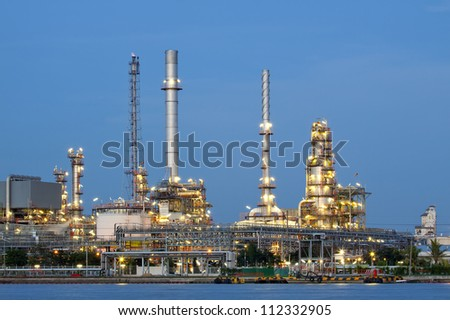 petrochemical oil refinery factory pipeline at  twilight Bangkok Thailand - stock photo