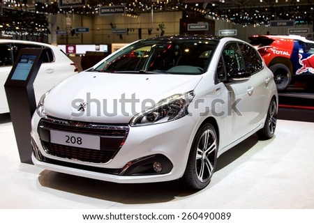 2015 Peugeot 208 presented the 85th International Geneva Motor Show on March 3, 2015 in Palexpo, Geneva, Switzerland