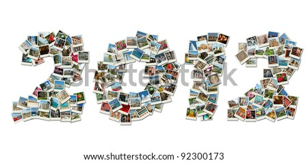 2012 PF card collage made of travel photos with famous landmarks of Israel,Greece,India,Italy,Bulgaria,etc - stock photo