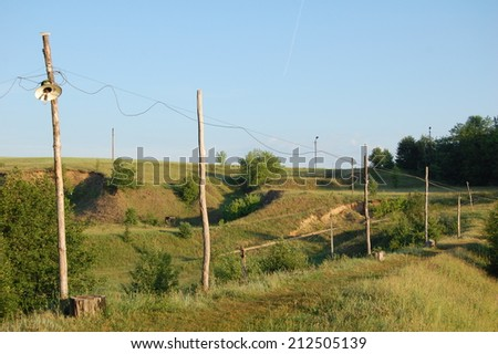 phase electrical power lines ,  wire pole, wire posts