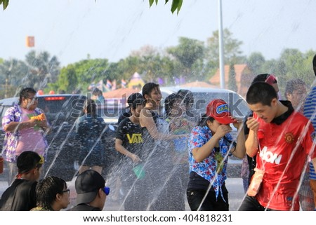Phayao Thailand- APRIL 13: Songkran Festival is celebrated in Thailand as the traditional New Year's Day from 13 to 15 April by throwing water at each other, on 13-15 April 2015 in Phayao Thailand