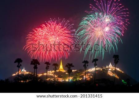 phetchaburi province annual festival firework,thailand. - stock photo