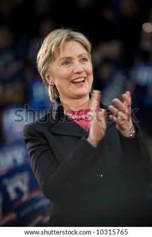 03/11/08 - Philadelphia, PA - Hillary Clinton - Presidential Hopeful, Senator Hillary Rodham Clinton (D-NY), speaks to a crowd of thousands at a campaign rally in Philadelphia, PA. - stock photo