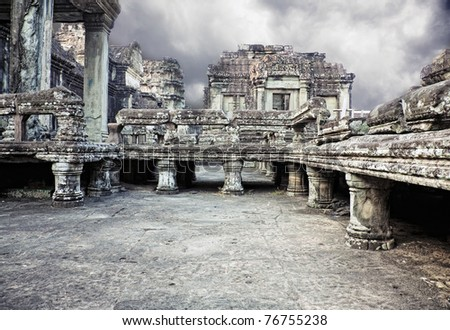 photo Angkor Wat - ancient Khmer temple in Cambodia. UNESCO world heritage site - stock photo