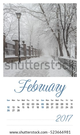2017 photo calendar with beautiful landscape. February.