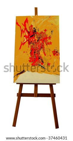 Photo of canvas and easel - stock photo