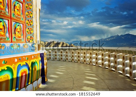 photo of colorful paintings on the wall of buddhist stupa with himalayas in the background, stylized and filtered to look like an oil painting. Location: Shanti Stupa, Leh, Ladakh, India. - stock photo