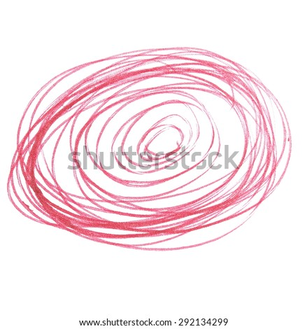 photo red pen hatched grunge spiral texture isolated on white background - stock photo
